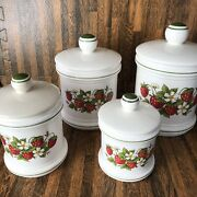Strawberry Canisters Ceramic 4 Pc Set W Lids Country Kitchen Sears Vintage Japan