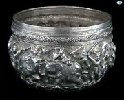 Stunning 1800s Antique Burmese Myanmar Repoussandeacute Silver Bowl Of Warriors Soldiers