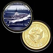 U.s. United States Navy   Uss Philippine Sea Cv-47   Gold Plated Challenge Coin