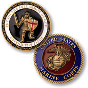 U.s. Marine Corps Usmc   Put On Whole Armor Of God   Gold Plated Challenge Coin