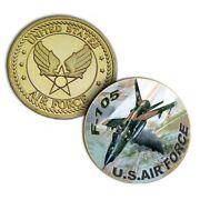 U.s. United States Air Force | Usaf F-105 Thunderchief | Gold Plated Coin