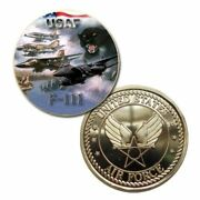 U.s. United States Air Force | Usaf F-111 Aardvark | Gold Plated Challenge Coin
