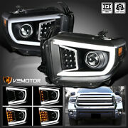 For 2014-2021 Toyota Tundra Black Led Sequential Signal Bar Projector Headlights