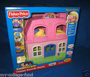 Fisher Price Little People Happy Sounds Home Pink With Mom Dad And Baby New