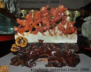 20china Feng Shui Natural Xiuyu Jade Carved Lucky Animal Horse 8 Horses Statue