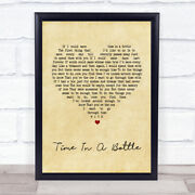 Time In A Bottle Vintage Heart Song Lyric Quote Print