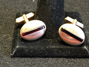 Vtg Swank Collectible Cuff Links Gold Tone Red Stone Oval