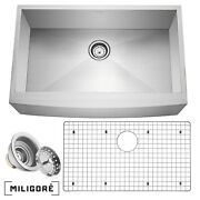 33x21x10 Country Farmhouse Stainless Steel Single Bowl 16g Apron Sink