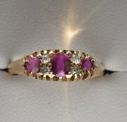 18ct Yellow Gold Antique Victorian 3 Ruby 4 Diamond Ring