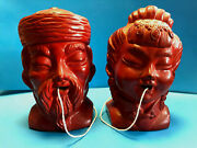 Pair Of Japan Made Asian Style Meat String Holder Wall Hanger Twine Dispensers