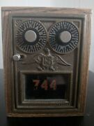 Extremely Rare Antique Locking 2-dial U.s. Mail Post Office Box Wooden Coin Bank