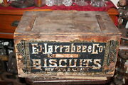Large Antique Ej Larrabee And Co. Biscuit Wood Crate Box New York Albany