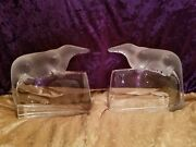 Rare Lalique Crystal Bookends With Sobeks