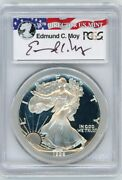 1992-s 1 Proof Silver Eagle Pcgs Pr70 Ed Moy Signed Red White And Blue Label