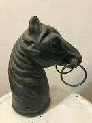 Old Vtg Collectible Cast Iron Double Ring Horse Hitch Post Topper Heavy
