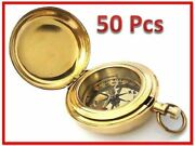 Vintage Solid Lot 50 Push Button Brass 2 Inch Compass-pocket Compass