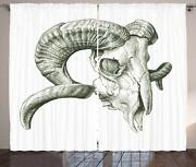 Ambesonne Skulls Decorations Collection, Scary Mountain Goat Animal Skull
