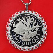 Barbados 1973 Trigger Fish Coral Gem Proof Coin 925 Sterling Silver Necklace New
