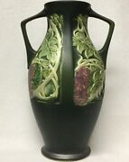 1920s Rosecraft Wisteria Panel Large Vase Roseville Pottery Arts And Crafts