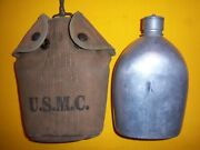 Rare 1913 Usmc Stenciled Depot Modified Ea Snap Canteen Cover And M1910 Canteen