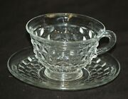 American Clear By Fostoria Flared Cup And Saucer Set Elegant Cubed Vintage Elegant