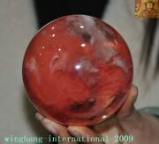 Rare China Feng Shui Red Crystal Carving Crystal Sphere Ball Plutus Lucky Statue