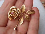 Vintage Huge Collectible 14kt Solid Yellow Gold Ruby 3d Rose Flower Pin Brooch