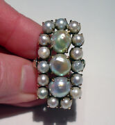 Huge Antique Victorian 14k Yellow Gold Baroque Pearl Ring