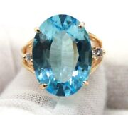 Vintage 14k Yellow Gold Oval Large Blue Topaz And Two Small Diamonds Cocktail Ring
