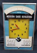 Vintage Modern Shoe Repairing Time To Save Cat's Paw Large Electric Wall Clock