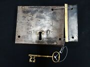 Early 1800s Carpenter Style Cast Iron And Brass Metal Rim Lock Set With Key