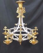 Restored Brass And Silver Acorn And Leaf Design 5 Light Ceiling Fixture Chandelier