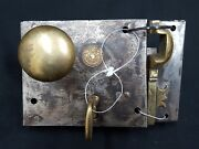 Early 1800s Authentic Cast Iron And Brass Metal Rim Carpenter Lock Set With Key