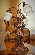 Vtg French Figurine Medieval Man Table Lamp Crystal Chandelier Fixture 1940's