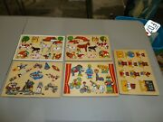 Vintage Wood Puzzle Lot Of 5, Farm Animals, Space Rockets Circus Animals Clowns