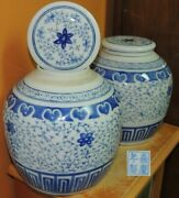 2 Chinese 7.75 Ginger Jars W Lids Blue White Jiaqing Marked Qing Antique