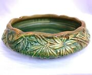 Weller 9 1/2 Wide X 2 Woodcraft Palm Leaf Decorator Marked Console Bowl And03920s