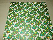 Vtg Christmas Wrapping Paper Gift Wrap Decorated Trees 1950 Nos 19 X 26