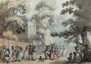 The End Of The Mall Spring Gardens Thomas Rowlandson Vintage Lithograph 464