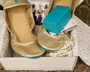Tieks Ballet Flats Limited Edition Metallic Champagne Gold Size 12 With Extras