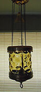 Antique Topaz Thumbprint Red Brass Hanging Oil/candle Lamp W/smoke Bell