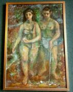 Harry Davis Painting Shell Gatherers By Hoosier Artist Captivating Estate Find