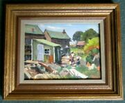 Fine Oil Painting Of Rockport Ma. By Listed Artist Joseph Newman 1890-1979