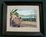 Havana Cuba Painting Train At Station Coffee Beans Load W/figures Signed Gould