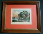 Currier And Ives Lithograph The Nearest Way In Summer Time Rare Original Find