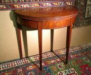 Antique Federal Salem Cherry Card Table Rare Fluted Edge W/dbl Swing Out Legs