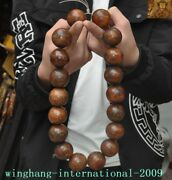 China Temple Ox Horn Bull Horn Carved Amulet Buddha Beads Rosary Bead Hand Chain