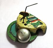 Old Vintage Frog Painted Unique Litho Tin With Bell Toy Collectible