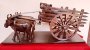 Exclusive Vintage Bullock Cart Wooden Ox Cart Handcrafted Collectible Rare Decor