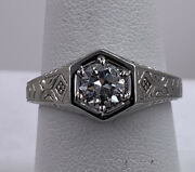 14k White Gold Victorian .70ct Old Mine Cut Diamond Engagement Ring Size 7.75